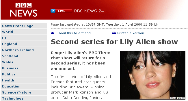 Second series for Lilly Allen and Friends