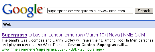 Supergrass to busk in COVENT GARDEN?