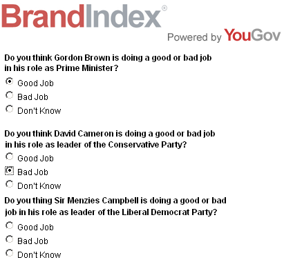 YouGov survey, 2 Nov 07: Do you thing Sir Menzies Campbell is doing a good job in his role as leader of the Liberal Democrats